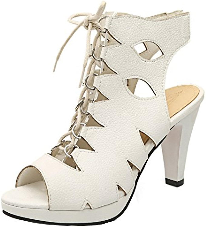 COOLCEPT Mujer Peep Toe Tacon alto Sandalias Strappy Slingback Zapatos -