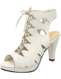 COOLCEPT Mujer Moda Clip Toe Sandalias Slingback Elastico Zapatos (35 EU, Blue)