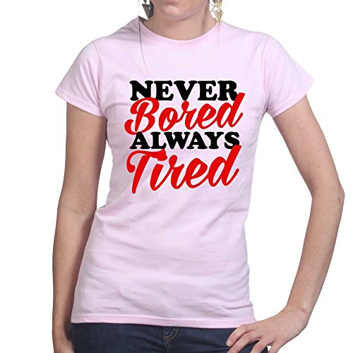 Never Bored Tired Gym Fitness Training Ladies T shirt Pink