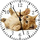 Funny Cute Cat Wanduhr 25,4 cm Will Be Nice Gift und Raum Wand Decor E306