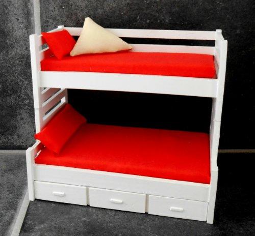 Miniatura Per Casa Delle Bambole 1:12 Mobili Camera Da Letto Bianco Letto a castello Letti con Trundle Letto