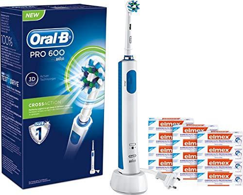 Braun Oral-B Vitality CrossAction 2D elektrische Zahnbürste D12.513 Timer + 12 Tuben elmex KARIESSCHUTZ PROFESSIONAL Zahnpasta PROBE (12 x 19 ml Tube)