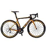 SAVADECK Velo de Route Carbone, Phantom 3.0 700C V¨¦lo de Course Homme Fibre de Carbone Shimano Ultegra 8000 22-Vitesses Syst¨¨me Michelin 25C Pneus Selle Fi'zi: k Route (Orange,56cm)