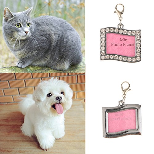 petsola Glitter Namensschild Rahmen Haustier ID DIY Name Tags Hund Katze Halskette - Rechteck