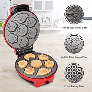 Finether Cake Maker/Donuts Maker/Waffle Maker: Multi-Functional Snack Maker with 3 Different Non-Stick Plates&Cord Wrap&Cool Touch Handle for Donuts Heart-Shaped Waffle Cakes