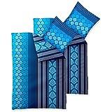 4-teilig   2 x 2teilig 4-Jahreszeiten Bettwäsche   155 x 220 cm SPARSET Baumwolle 4 tlg.   4teilig Trend Nala gestreift gemustert blau weiß
