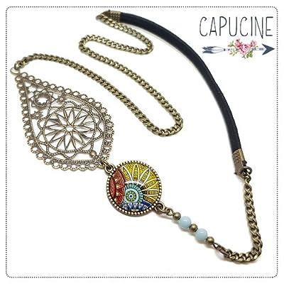 Headband avec Cabochon Verre Rosace Mandala Jaune Orange et Bleu, Estampe et Chaîne Bronze, Accessoire Cheveux avec Élastique