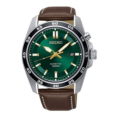 Seiko Herren Analog Kinetik Uhr mit Leder Armband SKA791P1