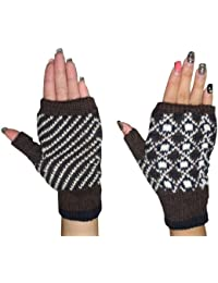 Womens Warm Winter Thermal Knitted Stretchy Fingerless Gloves - Multicolor