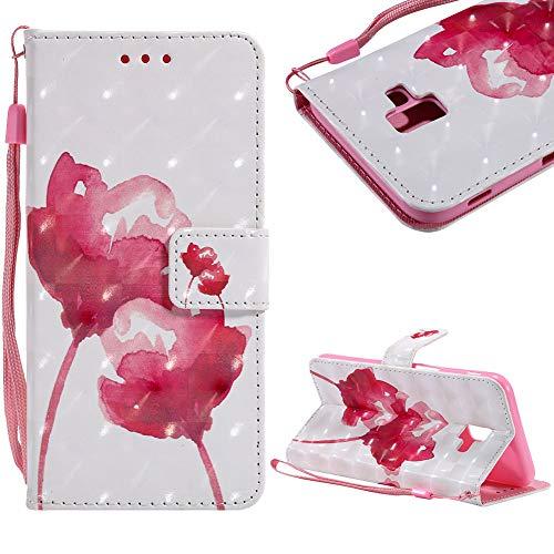 CESTOR Brieftasche Hülle für Samsung Galaxy J6 Plus,Luxus 3D Gemalter Entwurf Magnetverschluss Flip mit Faltbar Stand und Halter Kreditkarte Slots Hülle für Samsung Galaxy J6 Plus,Rote Rose