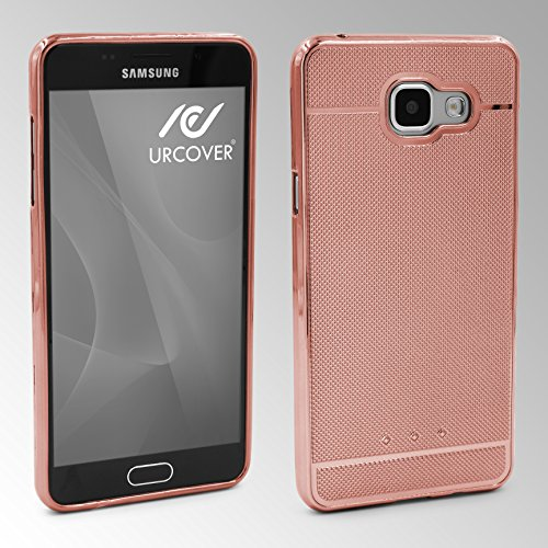Urcover® Samsung Galaxy J7 (2016) Back-Case Handy Schutz-Hülle Metall Optik Silikon in Rosa TPU Cover Smartphone Zubehör Tasche flexible Ultra Slim Handyhülle Rose Gold