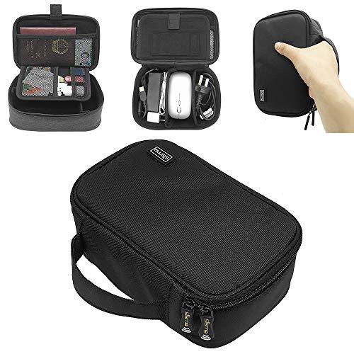 sisma Kabeltasche PowerBank Tasche Organizer für Kabel Externe Akkus Handy Ladegerät Laptop Adapter Maus USB Lader Speicherkarten Elektronik Zubehör Universaltasche, Schwarz 1000D-Stoffe SCB17092B-OB
