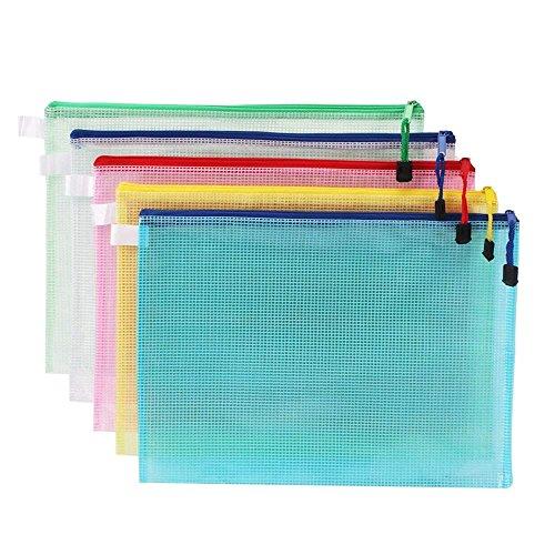 10Stück A4Zip Lock Mesh Dokument Dateien Wallet Ordner Kanzleipapier Druckknopf-Brieftaschen Taschen Ordner für Schule Büro Hausaufgaben Aufbewahrung Farbe Staubbeutel Mehrfarbig