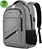 MANCRO Laptop Backpack, Anti Theft Business Travel Rucksack with USB Charging Port and RFID Pocket, Water Resistant College School Computer Bag for Men/Women, Fits 15.6 Inch Laptop and NotebookGrey