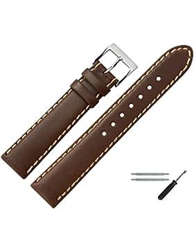 Uhrenarmband 22mm Leder braun - echtes Rindsleder, mit heller Naht - inkl. Federstege & Werkzeug - Ersatzarmband...
