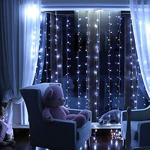 E-CHENG 300 Led Curtain Icicle Lights,Remote Curtain Lights for Christmas, Home, Balcony, Holiday, Festivals, Wedding Party Decorations, 8 Modes, UL Certification (White) -