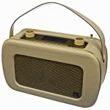 KitSound Jive 1950s Style Retro Portable DAB Radio with Dual Alarm Clock and Carry Handle - Cream