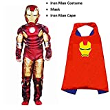 #8: Complete Iron man costume Set (6-7 Yrs) kids halloween Cosplay Carnival costumes for children | Fancy Dress Competition | B'day Party | Birthday Gift | Superhero cape
