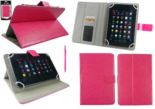 Emartbuy® AlpenTab 7 Zoll Tablet PC Universalbereich Hot Rosa Multi Winkel Folio Executive Case Cover Wallet Hülle Schutzhülle mit Kartensteckplätze + Hot Rosa 2 in 1 Eingabestift