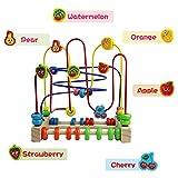 ... Circuit de Motricite Enfant Boulier Montessori Bois Jeux de Labyrinthe  Fruit PerlesJouet Bebe pour Enfant Fille Nuheby ... 9fcd8f4d4e50