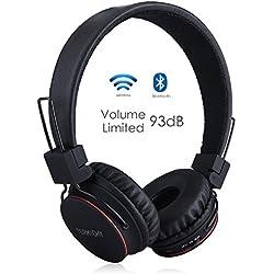 Auriculares Inalámbricos Bluetooth para Niños Adulto, Cascos Recargables y Plegables con Micrófono y Limitador de Volumen para Tableta, PC, Smartphone, Música por Termichy (Negro)