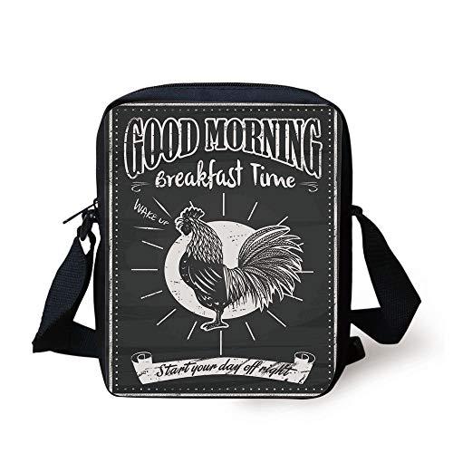 Kitchen Decor,Chalkboard Kitchenware Menu Art Morning Rooster Retro Style Cafe Home Design Utensils,Black White Print Kids Crossbody Messenger Bag Purse Rooster-box