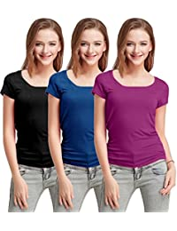 Fashion Line Premium Quality Stylish Printed Round Neck T Shirts For Women _Color : Black,Blue and Purple _Material : Cotton (Pack of 3 )