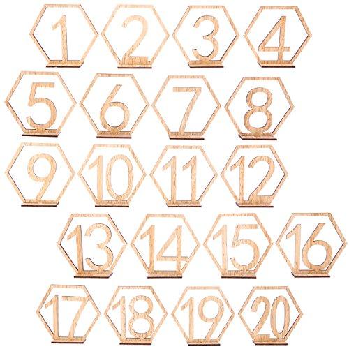 BESTOYARD 20 stücke 1-20 1-20 Holz Tischnummern Herz Holz Zahlen für Hochzeit Party Tischdeko