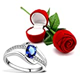 Peora Valentine's Day Gift Hamper of Royal Blue Crystal Ring with Red Rose Gift Box for Girlfriend/Gift for Her/Gift for Valentine/Gift for Girl