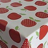 WWachstuch Tischdecke Wachstischdecke Gartentischdecke Apfel Mela Rot · Eckig 120x180 cm · Länge & Breite wählbar· abwaschbare Tischdecke