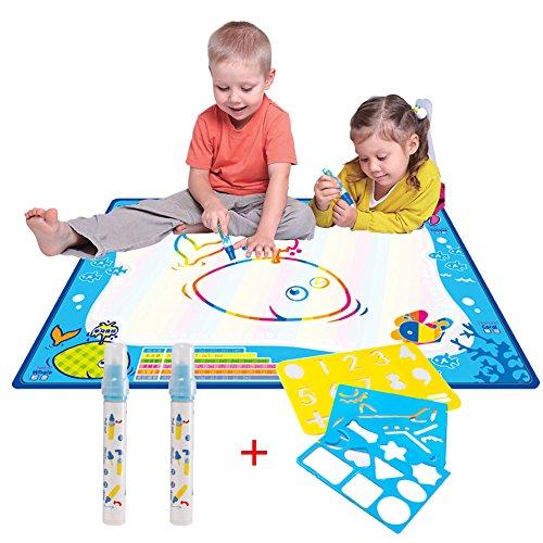 Preisvergleich Produktbild Magie Wasser Doodle Malmatte Für Kinder 70CMx50M,CJbrother Multicolor Doodle Matte zum Bemalen mit 2 Wasser Doodle Stifte + 1 Malerei-Vorlagen + 3 EVA-Grafik