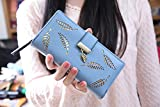 Damen Elegant Süß Leder Geldbörse ACGE® Pu neuer Stil Damen Lang Geldbörse (Blau)