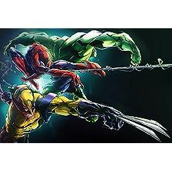 makeuseof Wolverine Spiderman Hulk Comics Poster Art Mural Photos pour Salon Impression sur Toile Chiffon de Tissu