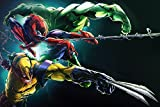 makeuseof Wolverine Spiderman Hulk Comics Poster Art Mural Images pour Salon Toile Tissu Imprimé
