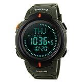 Montre homme Sports Digital de survie Boussole 50m étanche Chronomètre Alarme Wristwatch-green