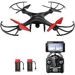 Potensic Drone con Telecamara, U48WH Actualizado WiFi FPV 2.4Ghz 4CH 6-Axis Gyro RC Exlorers Hover Drone Dron Quadcopter Videocamara 720P HD Camara, Headless Mode, 3D Flips Helicóptero
