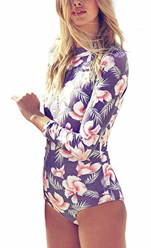 I VVEEL Damen Pflanze Druck Mock Hals Bademode einteiligen Bikini (Rabatt Kostüme Lager)