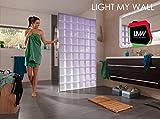 Trennwand, Paravent, Raumteiler, Sichtschutz aus Echtglas beleuchtet mit Farbwechsel