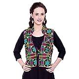 Vastraa Fusion Women's Cotton Ethnic Waistcoat (VASTRAATS0041-XXL, Black)