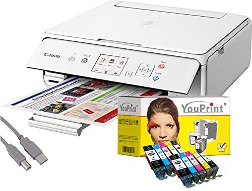 Canon Drucker TS5051 Tintenstrahl-Multifunktionsgerät weiß (Drucken, Scannen, Kopieren, Cloudlink) mit 10 komp. YouPrint® Tintenpatronen PGI-570/CLI-571 XL
