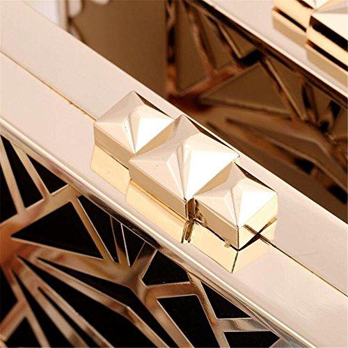Damen Taschen Clutch Abend Party Hochzeit Kleid Umschlag durchbrochene Metall Brieftasche gold