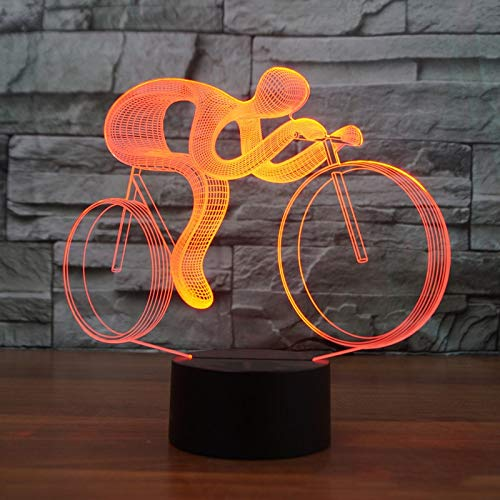 Radfahren 3d nachtlichter led 7 verfärbung visuelle tischlampen usb fahrrad lampen kinder geschenke spielzeug dekoration (Fahrräder Batteriebetriebene Kinder)