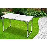 BARGAINSGALORE NEW 4FT/6FT HEAVY DUTY FOLDING TABLE PORTABLE PLASTIC CAMPING GARDEN PARTY CATERING FEET (White, 4)