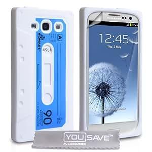 Schutzhülle für Samsung Galaxy S3, Motiv Kassette, Silikon, inkl. Displayschutzfolie, Weiß