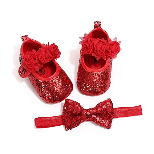 Misifeng Cute Sparkle Sequins PU Material Infant Newborn Baby Girls Crib Shoes Headband (Red, 1(0-6 months))