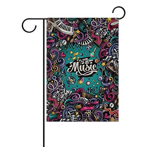 Saisonale Garten-Flaggen mit Musik - festliches Banner für draußen, aus stabilem Polyester, doppelseitig, Hausdekoration, Urlaub, Rasen, Terrasse, Dekoration, Polyester, Color-1, 28