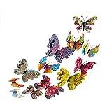 12pcs 3D Schmetterling Wandaufkleber Magnetischer Wandaufkleber Kühlschrank Dekor 3D Doppelschicht Schmetterlinge Wanddeko Aufkleber Abziehbilder Schmetterlings Aufkleber Abziehbild
