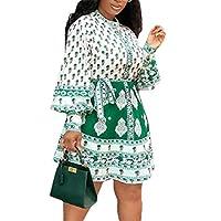 فستان GAGA النسائي قصير الأكمام من القطن مطبوع عليه زهور كاجوال متأرجحة على شكل حرف A جريه مارل US X-Small