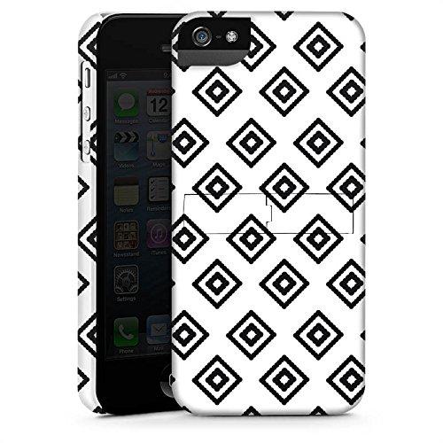 Apple iPhone X Silikon Hülle Case Schutzhülle Rauten Ethno Schwarz-Weiß Premium Case StandUp