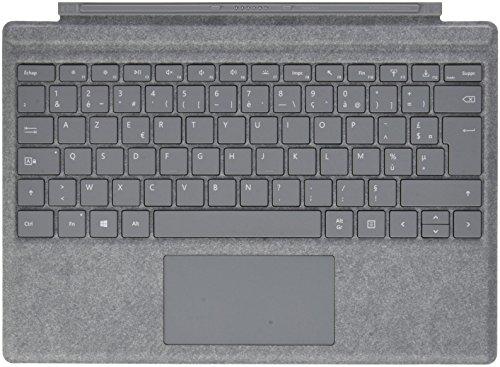 Microsoft - Signature Type Cover pour Surface Pro - clavier compatible Surface Pro 3/4/5/6/7 (Alcantara, rétroéclairage LED, pavé tactile en verre) - Platine (FFP-00004)